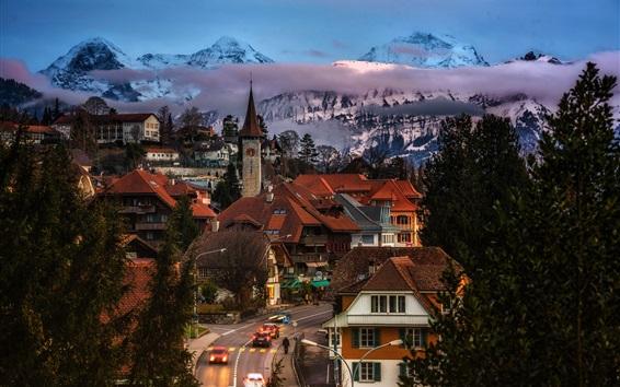 Wallpaper Gundlischwand, Switzerland, street, houses, trees, mountains, dusk