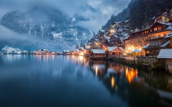 Papéis de Parede Hallstatt, Alta Áustria, bela vista da cidade, neve, casas, inverno, lago