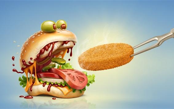 Fond d'écran Hamburger bouche ouverte, humour, image créative