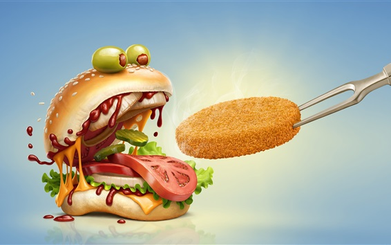 Wallpaper Hamburger open mouth, humor, creative picture