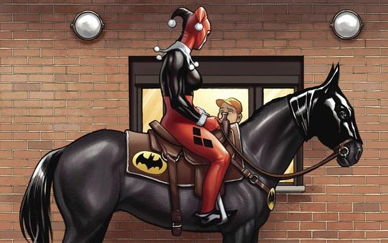 Wallpaper Harley Quinn, Batman, horse, art picture