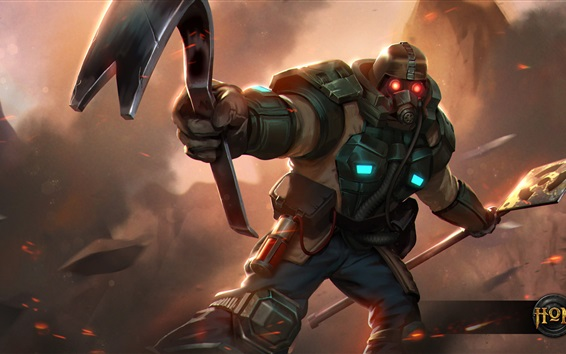 Wallpaper Heroes of Newerth, gas mask, warrior