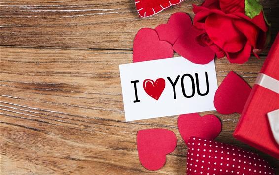Wallpaper I Love You, love hearts, gift