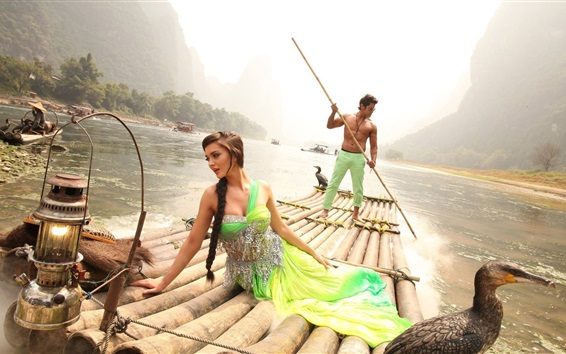 Wallpaper Indian movie, Amy Jackson, Vikram, river, bamboo raft