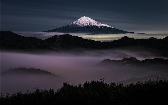 Wallpaper Japan, Fuji Mountain at night