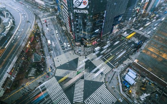 Wallpaper Japan, city, street, buildings, cars, top view