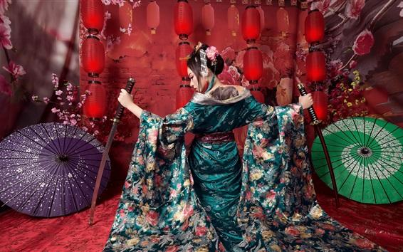 Обои Японская девушка, зонтики, меч
