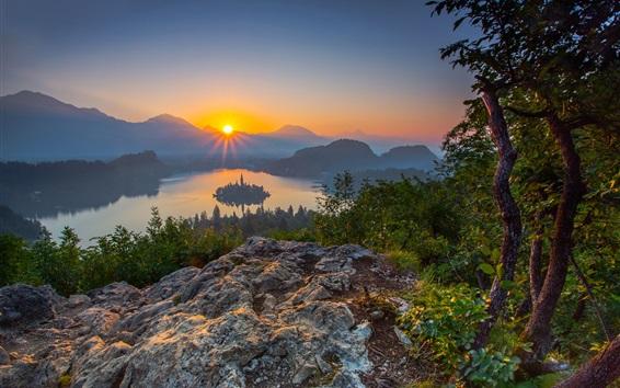 Papéis de Parede Alpes Julianos, Eslovénia, Lago Bled, árvores, montanhas, nascer do sol