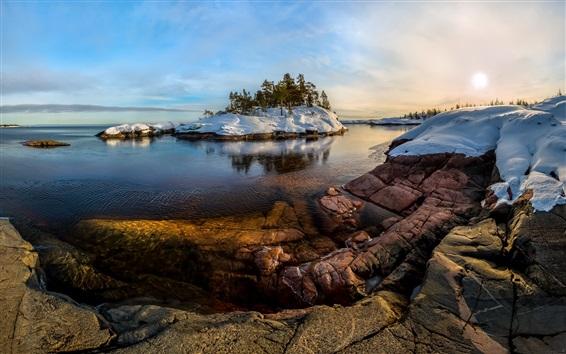 Wallpaper Lake, water, snow, trees, winter