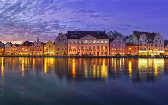 Wallpaper Landshut, Bayern, Germany, promenade, river, buildings, night