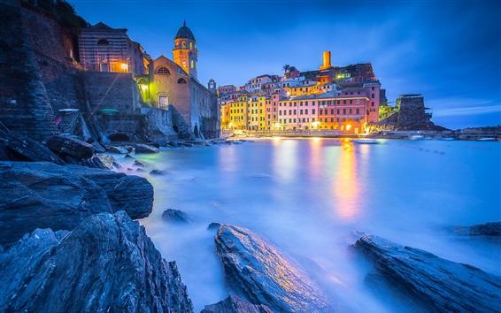 Papéis de Parede Mar da Ligúria, Vernazza, Cinque Terre, casas, luzes, Itália