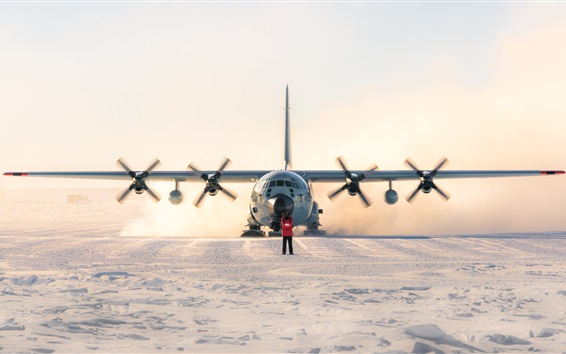 Wallpaper Lockheed LC-130 Hercules, plane, south pole, snow