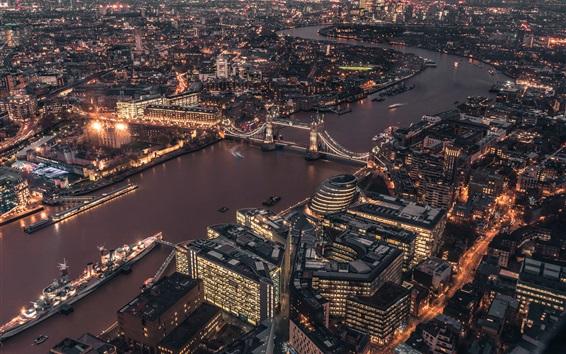 Wallpaper London, UK, city night, river, bridge, houses, lights, top view