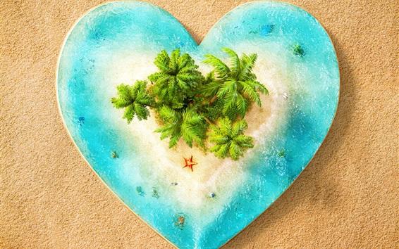 Wallpaper Love heart, sea, island, beach, creative