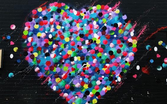Wallpaper Love hearts graffiti wall, colorful, art painting