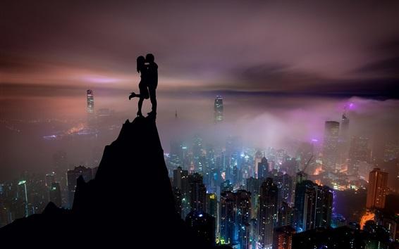 Wallpaper Lovers, kiss, mountain top, city night, Hong Kong