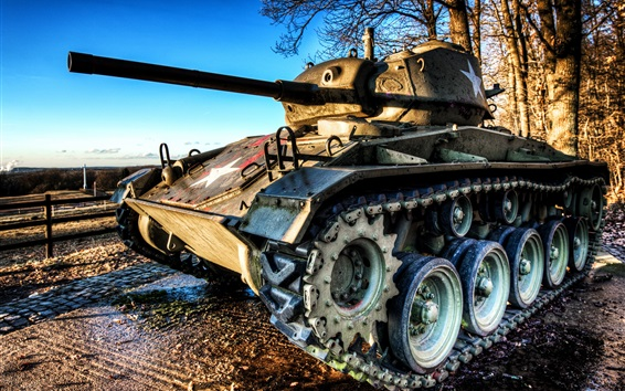 Wallpaper M24 tank, trees, morning, sunshine