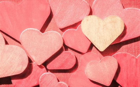 Fond d'écran Beaucoup de coeurs d'amour en bois rose