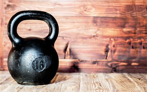 Hintergrundbilder Kettlebell aus Metall, Fitnessraum