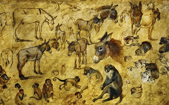 Wallpaper Monkeys, horses, sketches of animals