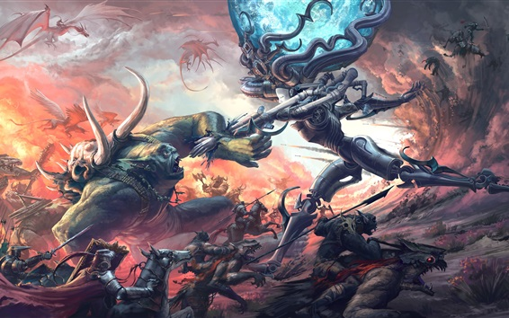 Wallpaper Monster battle, art picture
