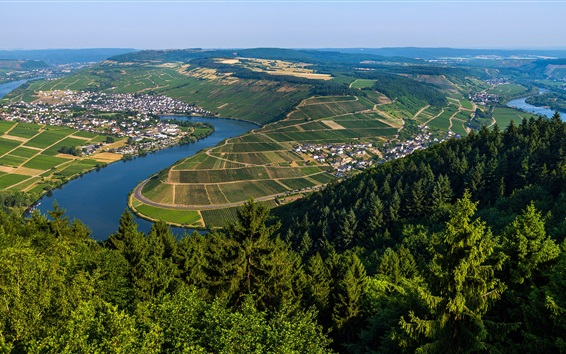 Wallpaper Moselle, Germany, France, river, fields, trees, green