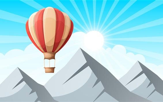 桌布 山,氣球,太陽光線,矢量設計