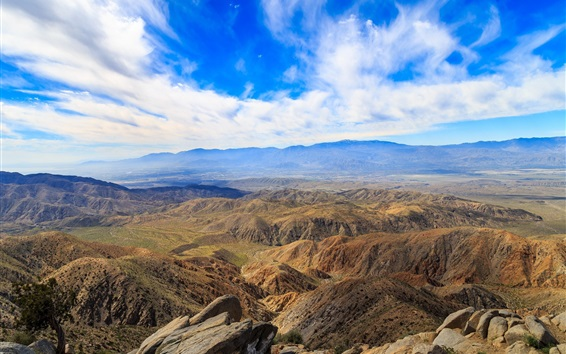 Wallpaper Mountains, hills, blue sky, clouds