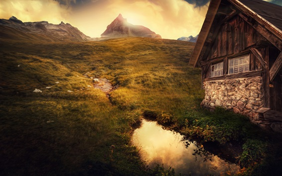 Wallpaper Mountains, house, grass, water, clouds