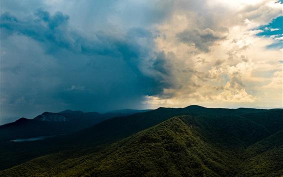 Fond d'écran Montagnes, arbres, ciel, nuages, paysage de la nature