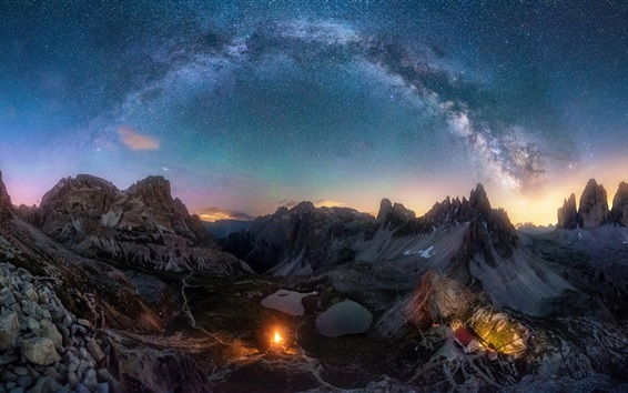 Wallpaper Mountains, valley, stars, starry, sky, night, Alps