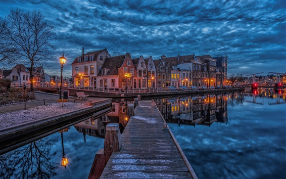 Wallpaper Netherlands, Haarlem, dock, houses, river, night, lights