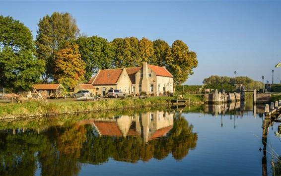 Papéis de Parede Holanda, rio, árvores, casas, carros