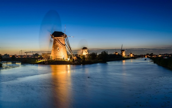 Wallpaper Netherlands, river, windmills, night, lights