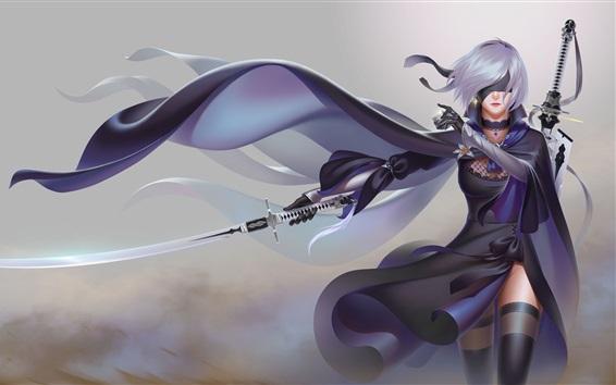 Wallpaper Nier: Automata, white hair girl, sword
