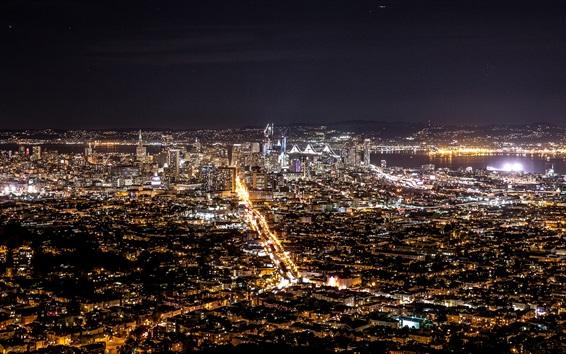 Wallpaper Night city views, buildings, houses, illumination