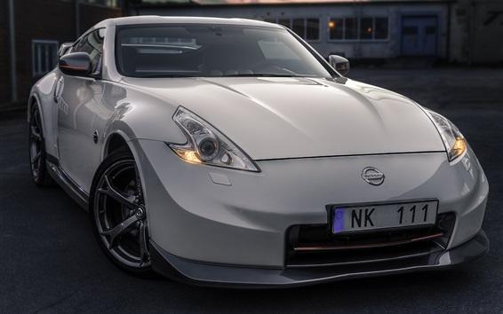 Wallpaper Nissan white car front view