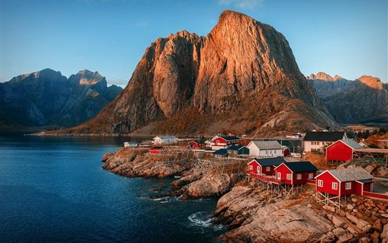 Wallpaper Norway, fjord, mountains, lake, city