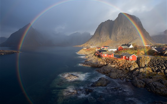 Wallpaper Norway, mountains, houses, lake, rainbow