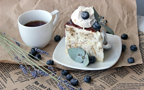 Wallpaper One piece cake, coffee, blueberries