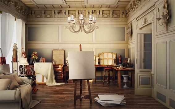 Wallpaper Painting studio, room, furniture, brushes, lamp