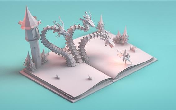 Обои История бумажного искусства, дракон, замок, воин