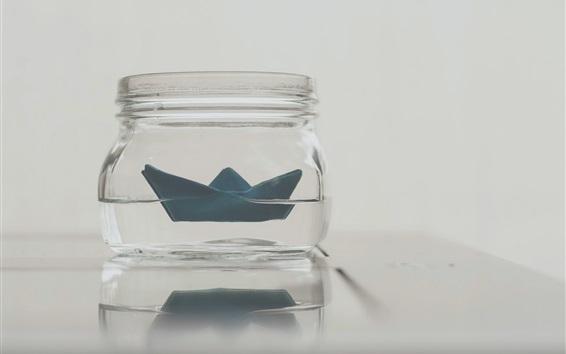Wallpaper Paper boat, glass bottle