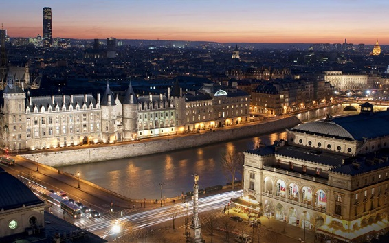 Обои Париж, город, ночь, мост, река, огни, Франция