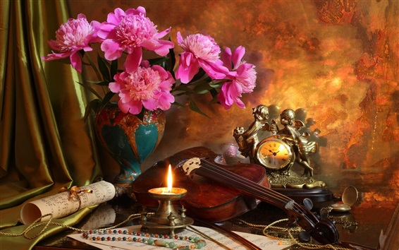 Wallpaper Peonies, candle, flame, violin, music score