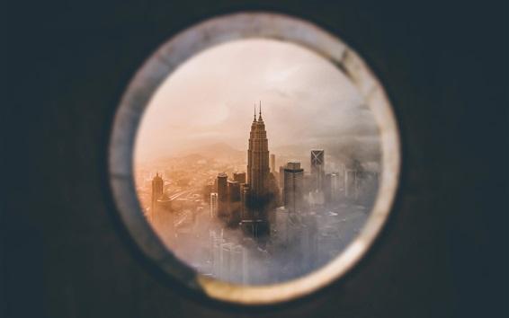 Wallpaper Petronas Twin Towers, look from window, Kuala Lumpur, Malaysia
