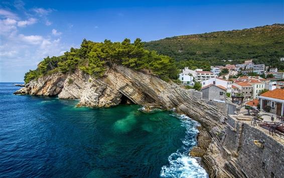 Fondos de pantalla Ciudad de Petrovac, Montenegro, mar, costa, rocas, árboles, casas
