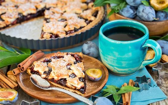Обои Пирог, сливы, кофе, завтрак