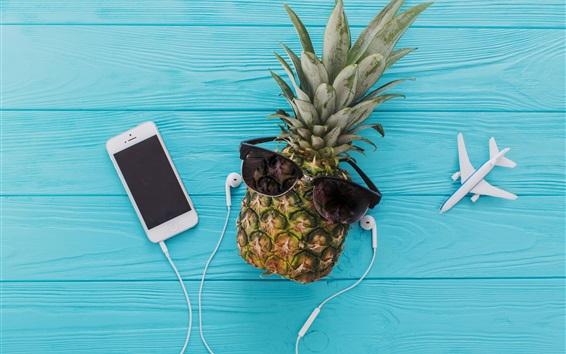 Wallpaper Pineapple, glasses, plane, headphones, phone, blue wood background