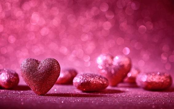 壁紙 ピンクの愛の心、輝く、ロマンチックな